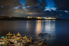 Arapya, Bulgaria (Georgi C) Tags: longexposure sea sky black beach night clouds landscape lights seaside cloudy bulgaria blacksea umbrela arapya