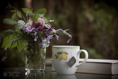 Ani s TEA (126) (Ani S Tea) Tags: tea afternoon beverage book cottage country daisy drink flora floral flower flowers garden hot lavender mug pink purple read reading relaxing rose rustic stilllife yellow