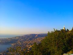 Notre dame du Liban (Hanna Khoury) Tags: travel blue sunset sky lebanon tourism marie landscape bay peace mary queen virgin pax pace regina pure libano reine paix  couch statut  harissa  vierge jbeil jounieh   pasage  gospa