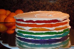 Rainbow cake by Michelle B, Santa Cruz CA, www.birthdaycakes4free.com