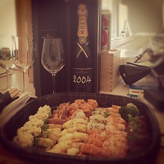 Shushi and Champagne. Hello friday. #celebrate... (Mathias Mikkelsen) Tags: party fish sushi champagne celebrate freelance uploaded:by=flickstagram henninggjerde notchoslo instagram:photo=290431233117653375287561