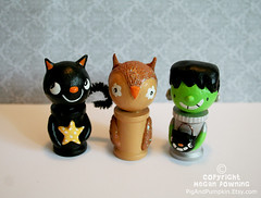Halloween Spool Dolls (Pig & Pumpkin) Tags: sculpture cute halloween cat handmade originalart frankenstein owl paperclay airdryclay spooldolls megandowning