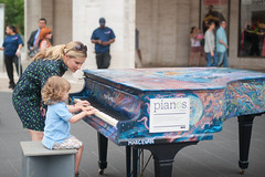 Mother and Daughter Playing Sing for Hope Piano at Lincoln Center (Shawn Hoke) Tags: plaza nyc center lincoln lincolncenterplaza nikond700 singforhope sfhpianos singforhopepianos