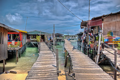 Mabul Beachouses (jarrado) Tags: houses beach island pier village jetty borneo gypsy hdr mabul