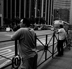 passing the time (Robert S. Photography) Tags: street nyc people bw waiting traffic manhattan midtown canonpowershot passingtime