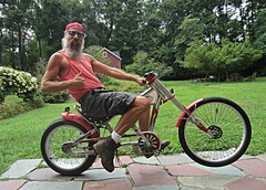Pop a Wheelie (Cowboy Tommy) Tags: portrait hairy hot sexy muscles bike beard chopper boots shades tanktop biker redneck schwinn armpits