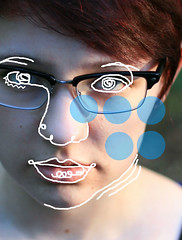 Stranger In A Strange Land (lainey koch) Tags: blue portrait selfportrait abstract art girl strange face lines closeup canon outdoors nose person 50mm glasses interesting artwork skin drawing surrealism creative trace surreal lips polkadots shorthair draw dots outlines tracing nosepiercing 30secondstomars strangerinastrangeland canonrebelxti