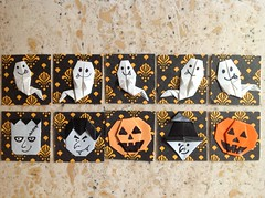Swap Halloween inchies (hippofreak) Tags: halloween origami geisha kimono paperfolding boeddha oosters zegels inchies twinchies