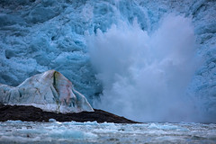 Ice-power....(Explored, my 146th) (Pewald) Tags: ice water danger power glacier svalbard splash spitzbergen