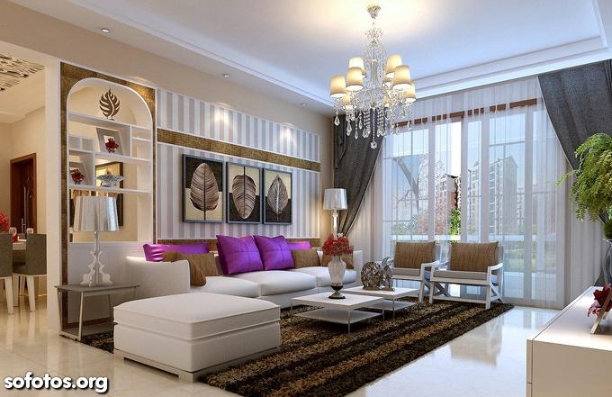 sala de estar com teto de gesso e lustre