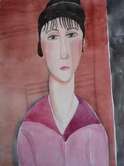 Modigliani's girl 01, by hj (Dona Mincia) Tags: portrait art girl face watercolor painting paper arte retrato inspired study moa tribute homage pintura homenagem modigliani releitura aquarela inspirado rereading relecture