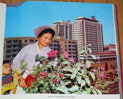 """North Korea vintage DPRK propaganda photo showing happy city life - """"House n Garden"""" (moreska) Tags: flowers gardens architecture kids vintage 1974 photo asia cityscape kim propaganda north innocent korea oldschool retro il clean highrise hobbies staged seventies utopia collectibles wholesome apartmentblock publications ideology sung dprk familylife sovietera blockofflats stagemanaged"""