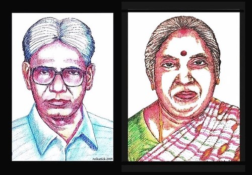 T.SUBBULAPURAM is Our Native Place - My Father N.ALAGARSAMY Retd.PC and My Mother A.ALAMELU AMMAL in my Color Pencil Art - Artist Anikartick ( Vasu engira Karthikeyan )