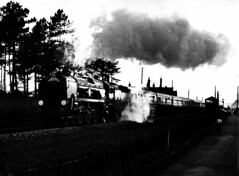 Mayflower 002 (FrMark) Tags: uk england monochrome train britain railway steam gb 70s locomotive seventies midlands