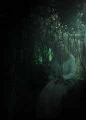 Down Below (Tanya Palazzo) Tags: light sun mist selfportrait green castle fog forest self canon photography vines woods glow dress belgium surreal haunted rays underworld listen celles veves surrealphotography tanyapalazzo