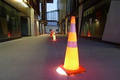 Aotearoa New Zealand Auckland New Lynn Traffic Cones 160214 0547 34 (itsabitblurry) Tags: newzealand night digital auckland aotearoa newlynn lx3