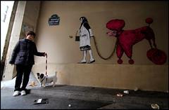 Levalet + Bault (Chrixcel) Tags: dog chien streetart paris rose collage pose installation passage escalier fushia caniche laisse bault miseensituation levalet