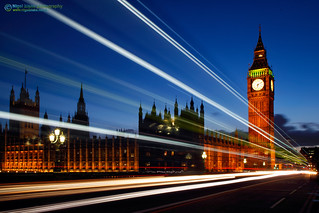 The Houses of Parliament, Big Ben and nighttime traffic light trails