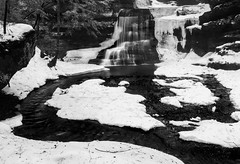 Fall to the River (K.M. Smith Photography) Tags: winter ohio blackandwhite ice nature water canon landscape waterfalls hockinghills ruralohio