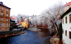 Winter in Cesky Krumlov (SerenadeS) Tags: world trees houses winter heritage ice beautiful fairytale river town europe czech branches peaceful charm unesco waters serene preserved charming icy vltava cesky krumlov