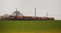 66228, 66214, 66212 & 66014 Copmanthorpe 02/04/2014 (Flash_3939) Tags: york uk train euro rail railway april convoy ecr dbs 2014 copmanthorpe class66 ews 66212 66214 66228 eurocargorail dbschenker 66014 euroshed