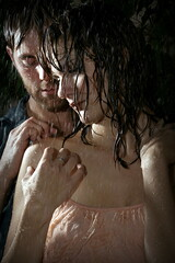 wet (FotoFiction For Book Covers) Tags: woman man sexy male love boyfriend wet water girl rain sex loving modern female standing bareback shower girlfriend couple pretty hand faces emotion affection masculine contemporary handsome romance sensual redhead indoors story desire relationship romantic backlit sexual lust embrace intimate youngadult caress twopeople affectionate blueshirt lusty ya affair steamy touching undressing manandwoman caucasian undress 1520years 2030years