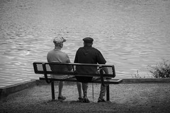 """""""I Was Blind and Now I See"""" (Steven.O'Toole) Tags: street friends people bw white lake man black men canon silver bench photography grey friend blind candid ying gray strangers stranger yang 70d 18135mm"""