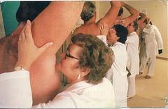 28 Mnsota (Rocky's Postcards) Tags: lab postcard coats sniffing technicians lautenberg armpits hygeine deodarant laboratories underarms clinicaltesting snifftest mnsota
