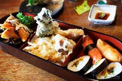 20150121-31-Bento box at Rin in Hobart (Roger T Wong) Tags: food sushi japanese restaurant cafe sashimi australia tasmania bento hobart tempura rin crumbed