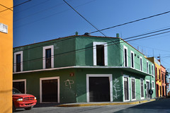 Green house with red truck (Thomas Roland) Tags: street city travel red summer car america mexico san colorful view sommer central tourist pedro amerika cholula andrés mellemamerika