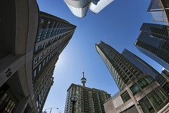In the City (Gary Burke.) Tags: ca street city travel windows vacation urban toronto ontario canada building tourism skyline architecture skyscraper canon buildings eos cntower fb north citylife streetphotography wideangle canadian wanderlust fisheye dslr touristattraction fisheyelens uwa cityliving 70d garyburke klingon65 canoneos70d