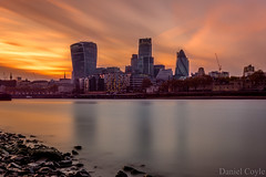 City Sunset (Daniel Coyle) Tags: uk longexposure sunset england london monument water thames reflections river nikon cityscape thecity wideangle citylights riverthames foreshore cityskyline cityoflondon thecityoflondon londonskyline ndfilter londonsunset citysunset sunsetoverlondon thamesforeshore d7100 cityoflondonskyline danielcoyle nikond7100 sunsetovercentrallondon