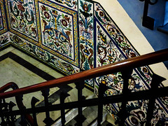 Flights of Fancy (Colormaniac too) Tags: building architecture stairs design spain colorful ceramics interior patterns seville tiles inside andalusia decor ornamentation ceramictiles
