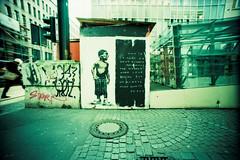 by L.E.T. (somekeepsakes) Tags: streetart pasteup film analog germany deutschland lomo xpro crossprocessed europa europe urbanart analogue dsseldorf let 2012 fujisensia100