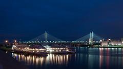 The Bolshoi Obukhovsky Bridge (Vi_us) Tags: bridge reflection water night river nikon russia saintpetersburg neva     d90