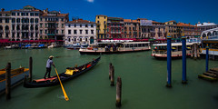 Canal Grande (sunnyha) Tags: travel venice sky italy color colour water canon buildings river landscape outdoors boat day colours photographer sunny photograph land gondola venezia rialto photographier skyblue 6d   canalgrande     eos6d  sunnyha ef1635mmf4lisusm