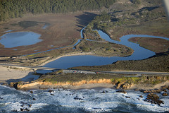 Aerial view of Pescadero State Beach and Highway 1, San Mateo County, California (cocoi_m) Tags: california nature aerial highway1 pacificocean geology geomorphology aerialphotograph sanmateocounty pescaderostatebeach pescaderomarshnaturalpreserve