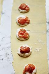 Making Ravioli (AlenaKogotkova) Tags: food cheese recipe healthy dough mint pasta peaches goatcheese ravioli foodphoto homemadepasta pastadough foodstyling