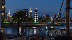 Newport Lighthouse (DSC01532) (Michael.Lee.Pics.NYC) Tags: lighthouse newyork night marina newjersey twilight nikon jerseycity sony newport hudsonriver bluehour midtownmanhattan nikkor85mmaf18 a7rm2