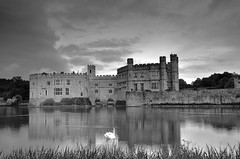 Swan in the Castle lake (Graeme_Smith) Tags: uk sunset sky lake castle water night clouds kent spring nikon dusk leeds peaceful calm filter tranquil graduated cokin d7000