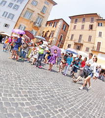 The Girl with the Purple Umbrella (kirstiecat) Tags: street summer italy sun rome roma girl italia child tourists moment