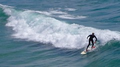 Surfer off Manhattan Beach (kristenlanum) Tags: ocean california blue summer beach water losangeles surf waves break pacific surfer manhattanbeach