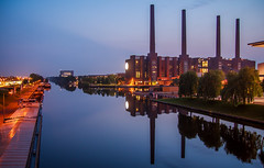 VW Factory (fredrik.gattan) Tags: blue seascape reflection night river germany volkswagen factory hour wolfsburg