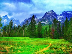 The golden path... (Sherrianne100) Tags: mountains beauty path wyoming grandtetons