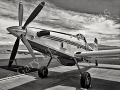 Sky Trucker (garylestrangephotography) Tags: usa white tractor black tourism monochrome training airplane fire grey mono airport nevada transport plate monotone trainer tanker n196la garylestrangephotography