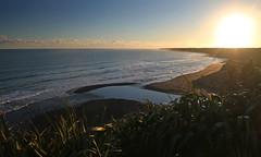 lining up (Paul J's) Tags: sunset beach river landscape coastal tasmansea taranaki kaupokonui