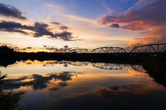(Yi-Liang Lai) Tags: bridge sunset sky cloud sun sunlight lake color reflection water colors beautiful skyline clouds canon reflections landscape colorful ngc taiwan wideangle kaohsiung     6d   wideanglelens   kaohsiungcity     canon6d