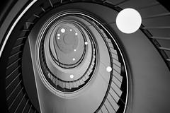 Orbit. (HansEckart) Tags: blackandwhite monochrome lines stairs indoor treppe kontrast formen aufgang wendeltreppe schwarzundweis umlaufbahn