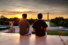 Brothers in DC (Rick Sause Photography) Tags: family trees shadow red people orange usa sun color reflection men monument water pool beautiful yellow stone america sunrise canon mall landscape outside outdoors photography reflecting early photo dc washington memorial exposure pretty brothers brother united capital watch ngc watching nation rick landmark capitol lincoln rays states marble rise hdr ngs sause rsp ricksausephotography