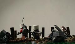 Rainy day in June (SilverMorph) Tags: weird war lego trench conflict loyalist firstworldwar nomansland patrol alternate worldwar1 separatist brickarms legography proxygreen